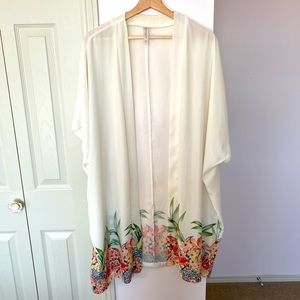 Cacique Open Robe or Coverup with Tropical Print